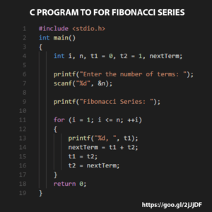 C Program For Fibonacci Series